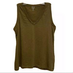 MADEWELL Green v-neck sleeveless cotton t-shirt